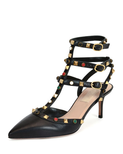 Rockstud Cabochon Leather 65mm Pump, Black (Nero)