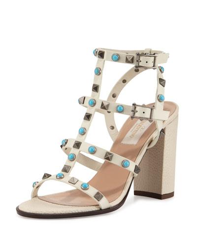 Rockstud Cabochon Block-Heel Sandal, Light Ivory