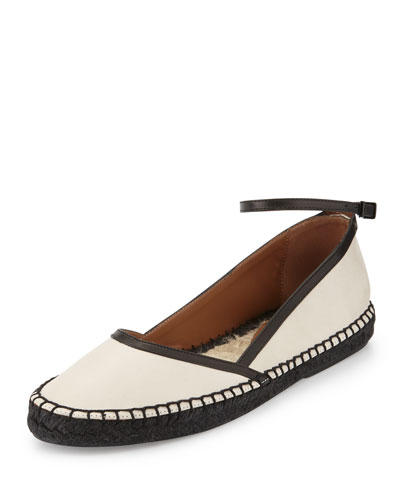 Leather d'Orsay Flat Espadrille, Cream/Black