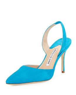 Carolyne 90mm Suede Halter Pump, Turquoise