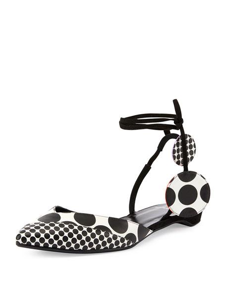 Lola Dot-Print d'Orsay Flat, Black/White