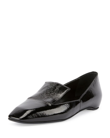Polly Square-Toe Patent Loafer, Black