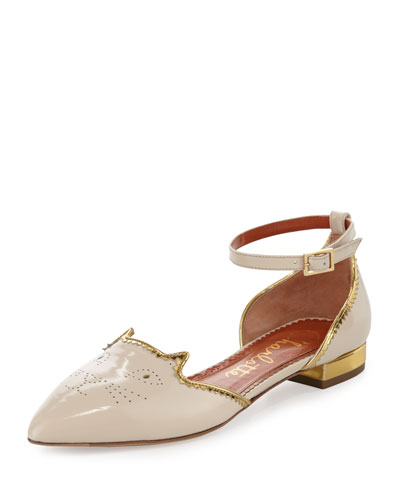 Patent Brogue Kitty d'Orsay Flat, Ivory/Gold