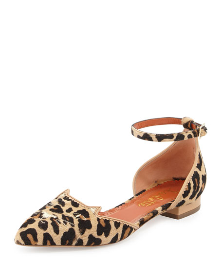 Charlotte Olympia Leopard-Print Calf Hair Kitty Flats