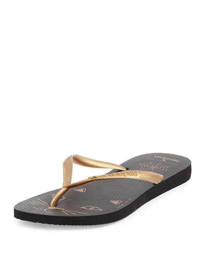 Kitty Havaianas Rubber Flip Flop, Black