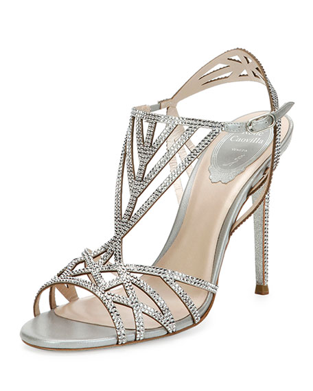 Crystal-Embellished Cutout 105mm Sandal, Silver