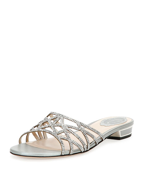 René Caovilla Crystal-Embellished Slide Sandals cheap sale pick a best limited edition clearance best prices buy cheap brand new unisex W1netur