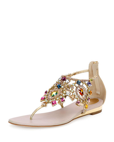 Jewel-Embellished Flat Thong Sandal, Multi