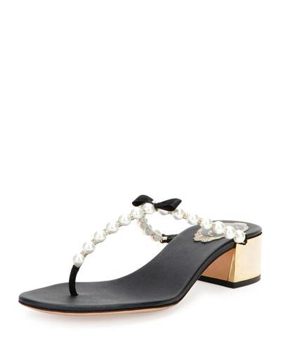 Pearly Thong-Strap Sandal Slide, Black/White