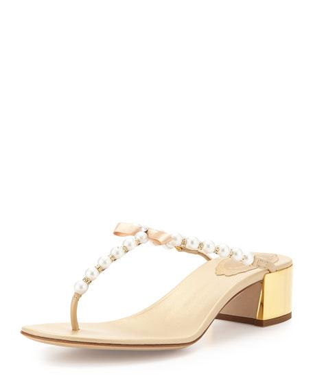 Pearly T-Strap Block-Heel Sandal