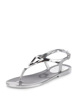 Trifecta Metallic Jelly Sandal, Silver