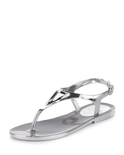 Trifecta Metallic Jelly Sandal, Silver