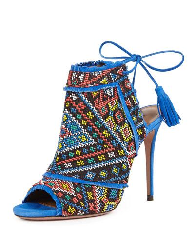 Colorado Woven Ankle-Tie Bootie, Mondrian Blue
