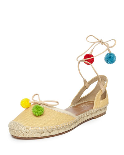 Palm Beach Woven Wedge Espadrille, Beige