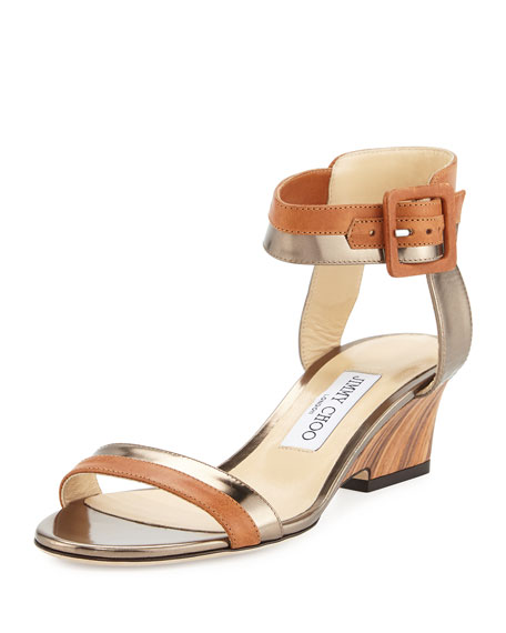 Mansy Two-Tone Demi-Wedge Sandal, Light Brown
