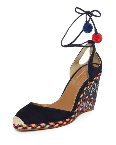 Palm Beach Woven Wedge Espadrille, Ink