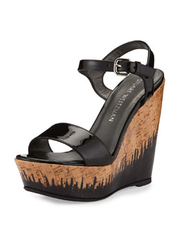 Single Patent Cork Wedge Heel, Black