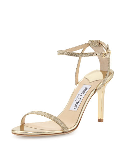 Minny 85mm Strappy Glitter Sandal, Gold