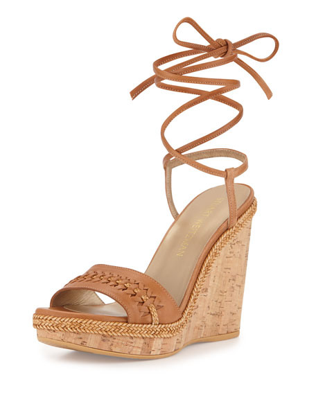 Tiedover Ankle-Wrap Wedge Sandal, Camel