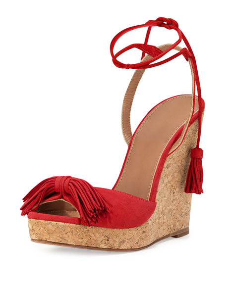 Wild One Tassel Wedge Sandal, Lipstick