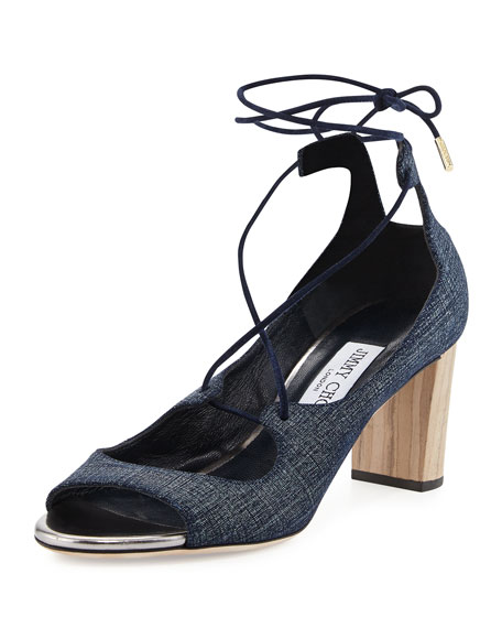 bf70a66e6b1d Jimmy Choo Vernie 65mm Denim Lace-Up Sandal