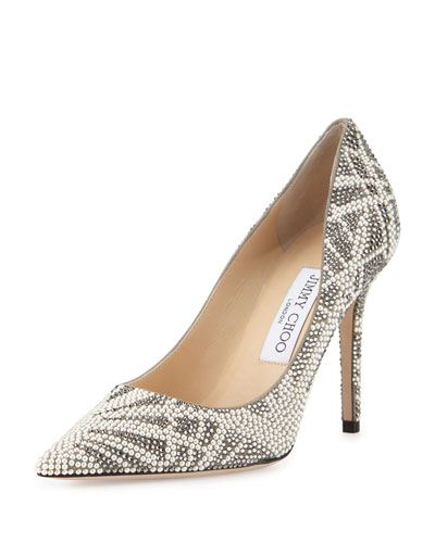 Abel Palm Crystals Pointed-Toe Pump, Light Khaki Mix