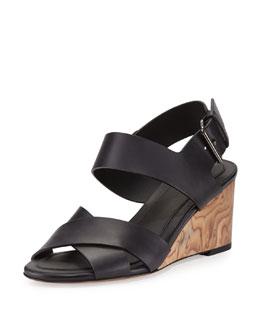 Gwyn Leather Slingback Wedge Sandal, Black