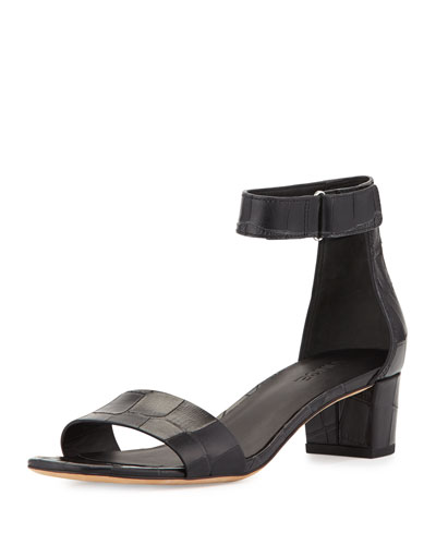 Rita Leather Block-Heel Sandal, Black
