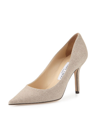 Agnes Metallic Canvas 85mm Pump, Natural