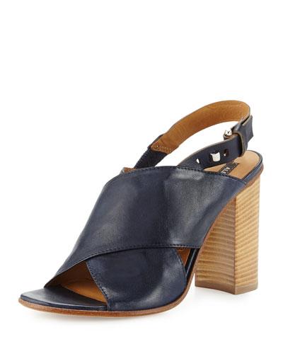 Gisella Crisscross Stack-Heel Sandal, Navy