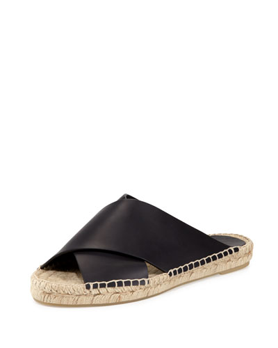 Castel Leather Crisscross Flat Slide Sandal, Black