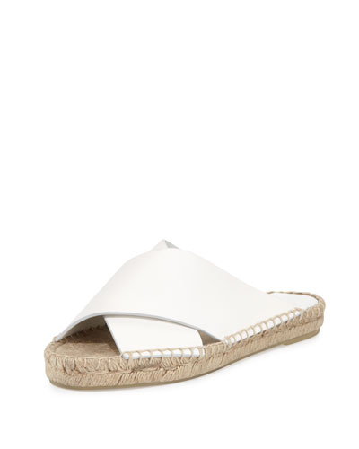 Castel Leather Crisscross Flat Slide Sandal, White