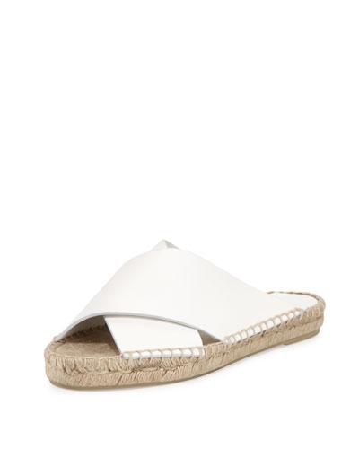 Castel Leather Crisscross Flat Slide Sandal, White