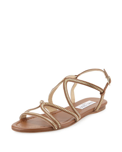 Nickel Chain Strappy Flat Sandal, Tan