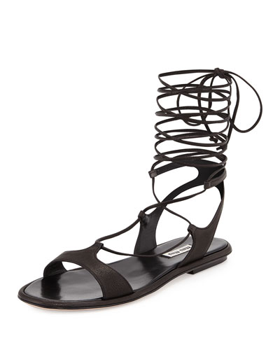 Ankle-Wrap Leather Gladiator Sandal, Nero