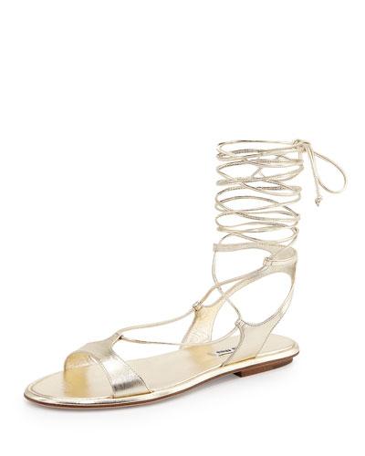 Ankle-Wrap Leather Gladiator Sandal, Pirite