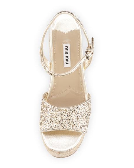 65665afec92 Miu Miu Glitter Platform Espadrille Wedge Sandal