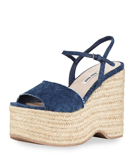 Miu Miu Denim Espadrille Wedges discount best purchase sale online discount price smuGu9s8K2
