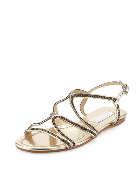 Jimmy ChooNickel Chain Strappy Flat Sandal, Gold Metallic