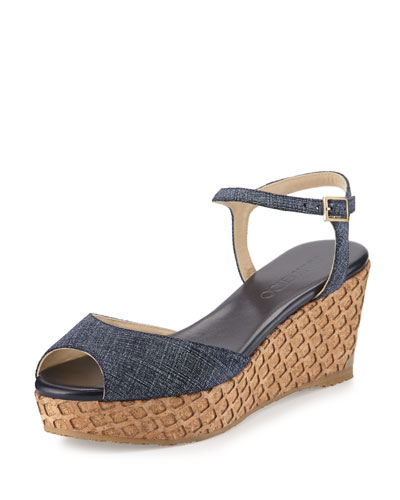 Perla Denim Woven Wedge Sandal, Indigo