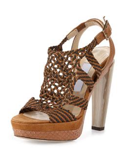 Taytum Woven Platform Sandal, Brown