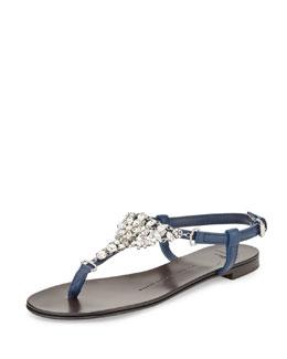 Flat Jeweled Flat Thong Sandal, Navy