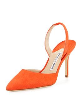 Carolyne 90mm Suede Halter Pump, Orange