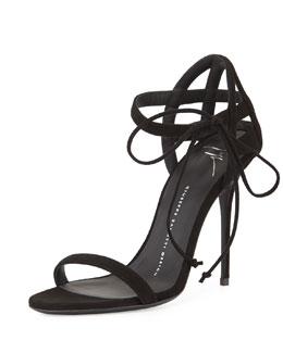 Suede Lattice-Heel 105mm Sandal, Black
