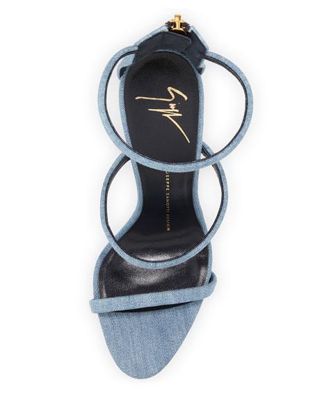 Denim Triple-Strap 110mm Sandal
