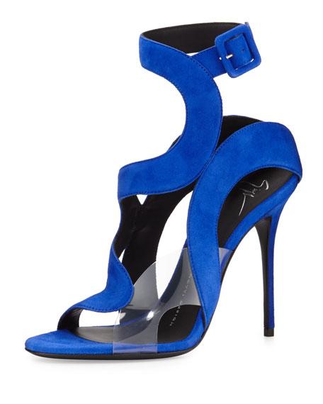 6c2c36f6f0e7 Giuseppe Zanotti Mistico Wavy Suede PVC Sandal