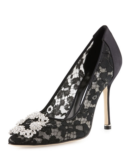 0a280e64988ec Manolo Blahnik Hangisi Satin Lace 105mm Pump, Black
