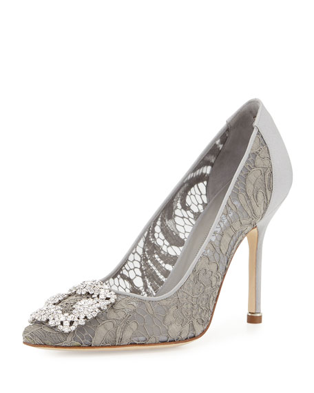 Manolo Blahnik Hangisi Satin & Lace 105mm Pump,