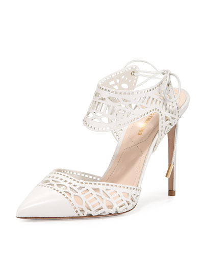 Leda Laser-Cut Lace-Up Pump, White