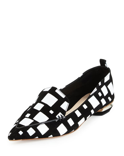Beya Cubism Leather Loafer, Black/White